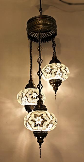 Mosaic Ceiling Lamp 3 Lg Globes White