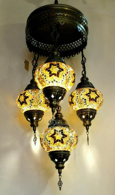 Mosaic Ceilling Lamp 4 Globes Amber-Brown