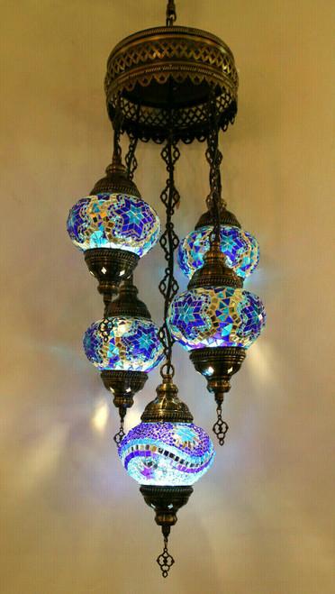 Mosaic Ceiling Lamp 5 Globes Blue