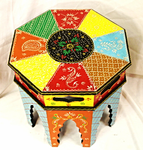 Colorful Accent Table, Painted Furniture, Solid wood furniture, beautiful corner table, octagon shaped furniture, high-end furniture, accent table painted, accent table colorful, colorful furniture, painted furniture