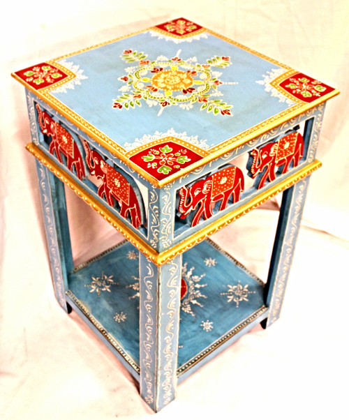 Blue Painted Nightstand with Carved Elaphants, Accent table, End Table, Corner table, furniture painted, elephants on furniture