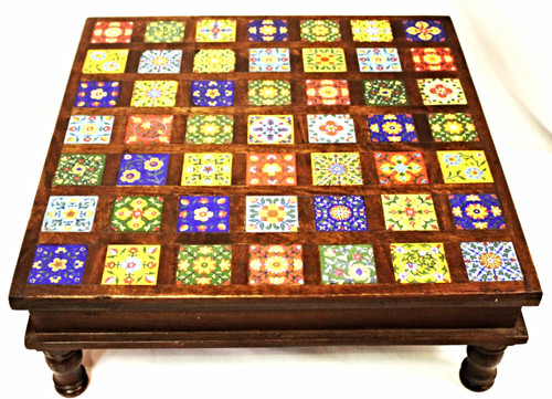 Large Low Table with Hand-Painted Tiles