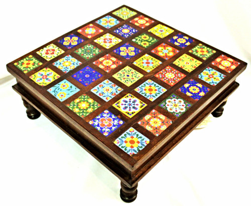 Low Table with Hand-Painted Tiles