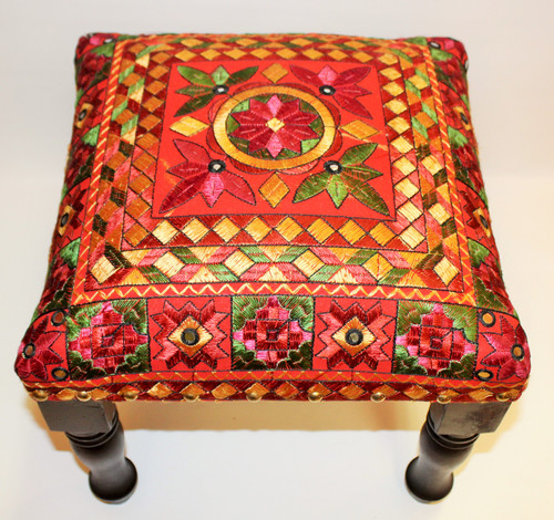Foot Stool Red, furniture from india, embroidered, foot stool, foot rest, foot stool high, foot rest tall