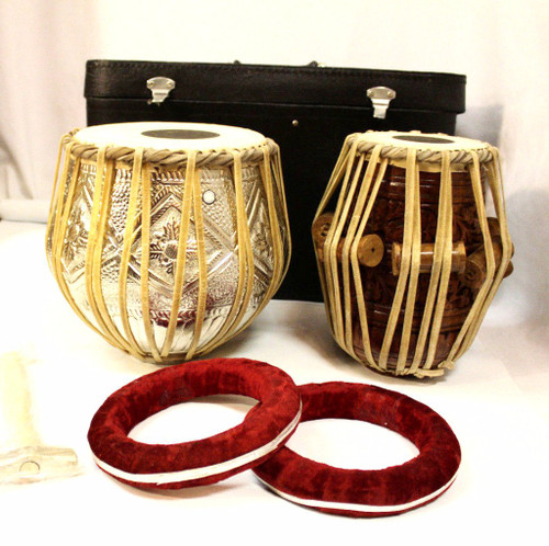 Beautiful Tabla Set Carved and Embossed  with Hard Case