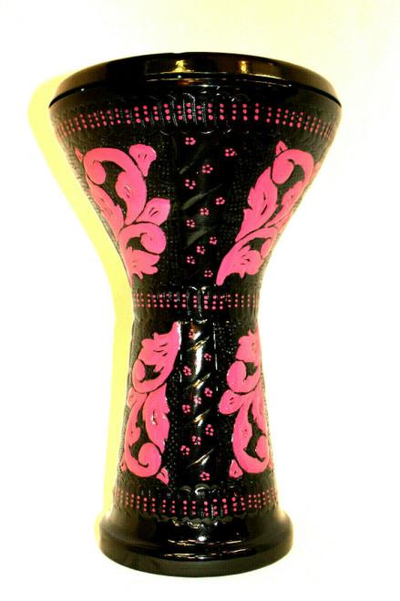 Embossed Design Doumbek Drum Black and Pink