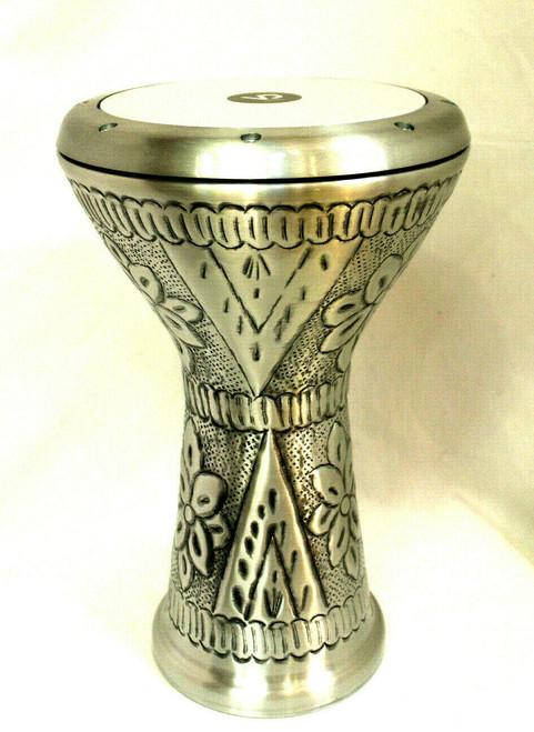 Embossed Design Silver Doumbek Drum