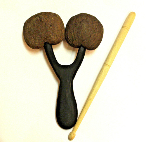 Hand Percussion Coconut Agogo Bell Two Tone with Stick