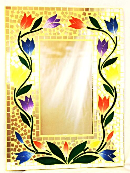 Wall Decor Mirror, Masaic Wall Mirror, Nice Gift, Home Decor, WALL mirror, decorative mirror, mirror wall, yellow mirror, mirror yellow, mosaic mirror, painted mirror, beautiful mirror, wall mirror, wall mirror YELLOW, mirror floral design,