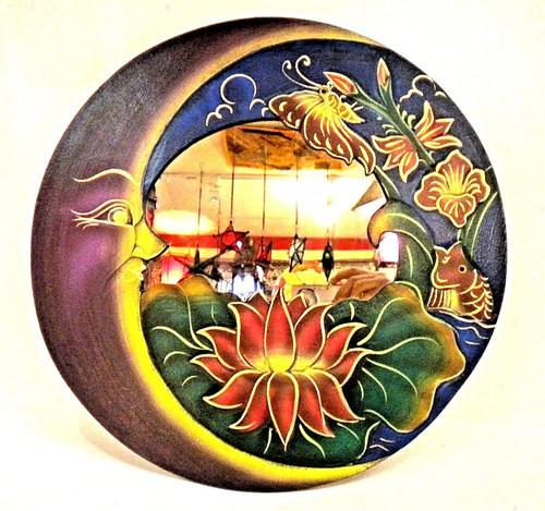 Sun and Moon, blue Round Mirror, Wall Decor, Nice Gift, decorative mirror, pacific home decor, indonesian home decor, sun and moon mirror, mirror sun and moon, sun and moon home decor, BLUE mirror, purple mirror, blue mirror round, lotus home decor, lotus flower, mirror with LOTUS, lotus mirror,