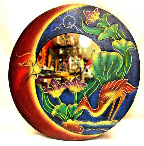 Sun and Moon, blue Round Mirror, Wall Decor, Nice Gift, decorative mirror, pacific home decor, indonesian home decor, sun and moon mirror, mirror sun and moon, sun and moon home decor, BLUE mirror, purple mirror, blue mirror round, bird home decor, mirror, mirror with birds, BIRD mirror,