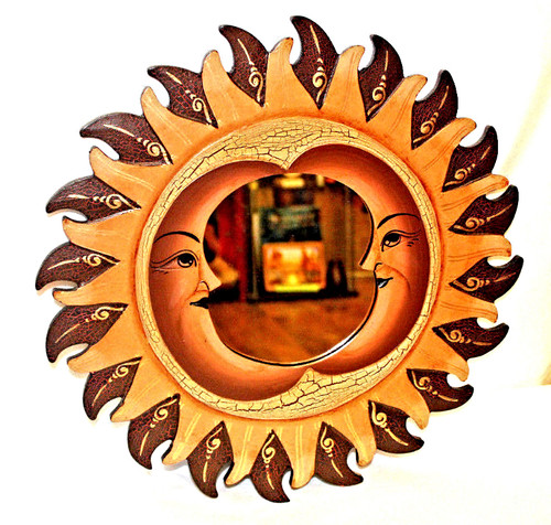 Sun and Moon, Brown Round Mirror, Wall Decor, Nice Gift, decorative mirror, pacific home decor, indonesian home decor, sun and moon mirror, mirror sun and moon, sun and moon home decor, brown mirror, brown mirror round
