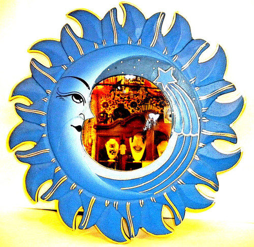 Sun and Moon, Blue Round Mirror, Wall Decor, Nice Gift, decorative mirror, pacific home decor, indonesian home decor, sun and moon mirror, mirror sun and moon, sun and moon home decor, blue mirror, blue mirror round