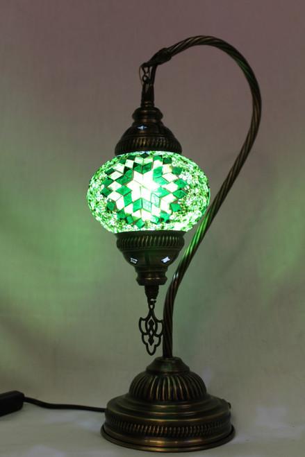 Mosaic Small Swan Table Lamp Green Star