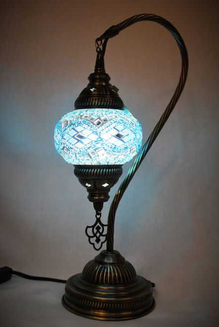 Mosaic Small Swan Table Lamp Turquoise
