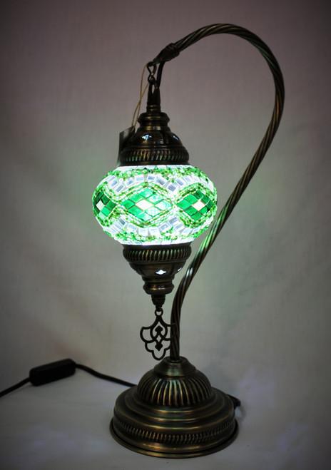 Mosaic Small Swan Table Lamp Green