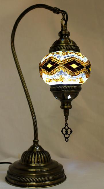 Mosaic Small Swan Table Lamp Amber-Brown