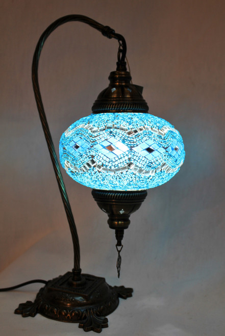 Mosaic Swan Table Lamp Turquoise