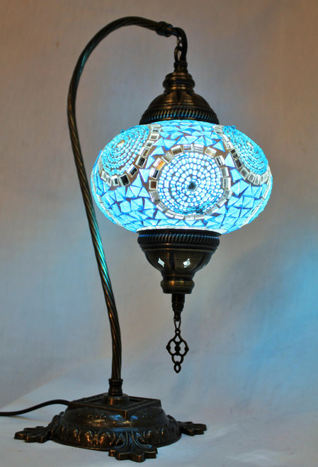 Mosaic Swan Table Lamp Turquoise Spirals