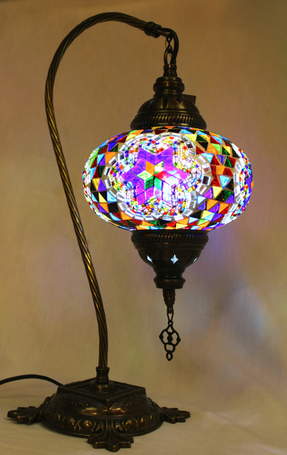 Mosaic Swan Table Lamp Multi-Color Star Blue