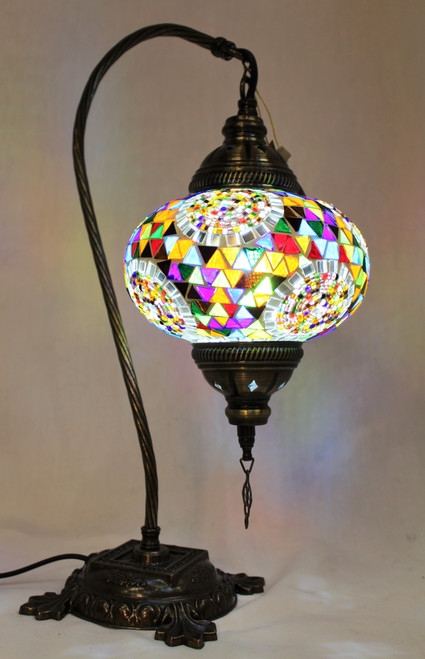 Mosaic Swan Table Lamp Multi-Color Spirals