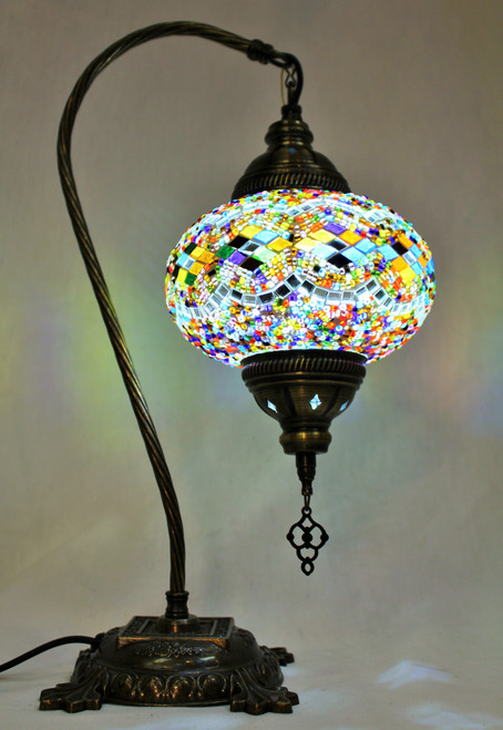 Mosaic Swan Table Lamp MultiColor