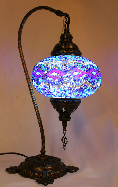 Mosaic Swan Table Lamp Blue