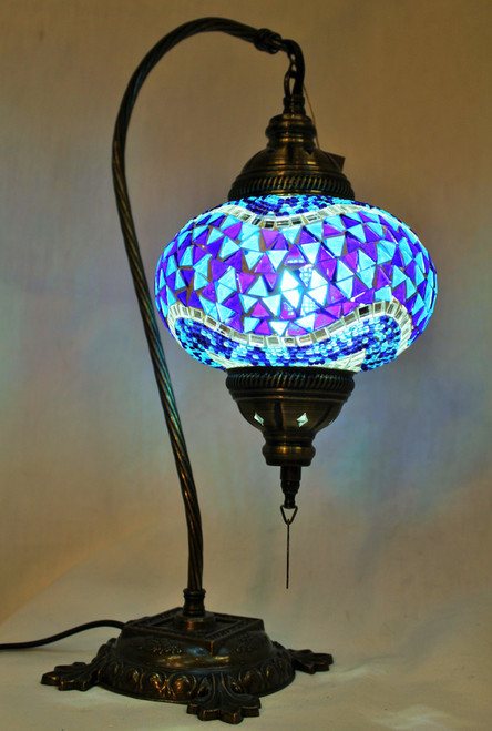 Mosaic Swan Table Lamp Blue Wave