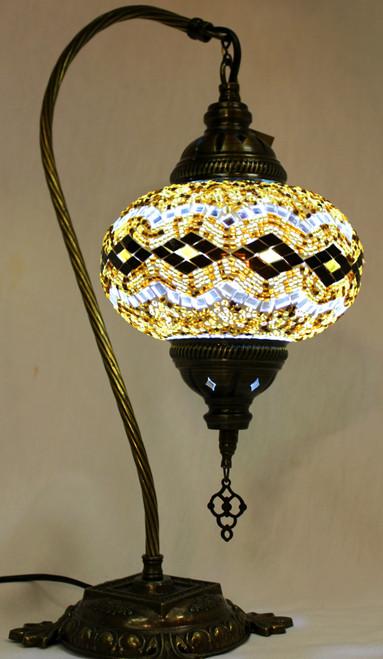 Mosaic Swan Table Lamp Amber-Brown