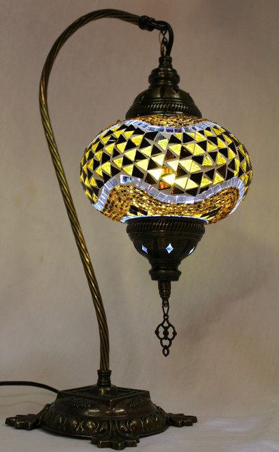 Mosaic Swan Table Lamp Amber-Brown Wave