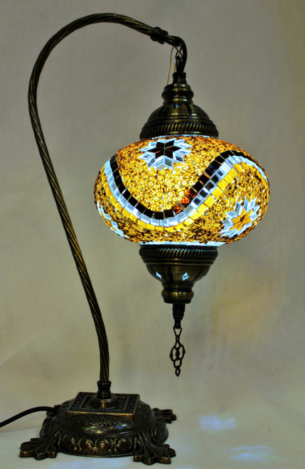 Mosaic Swan Table Lamp Amber-Brown Stars