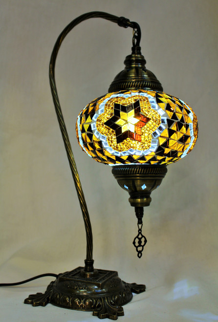 Mosaic Swan Table Lamp Amber-Brown Star