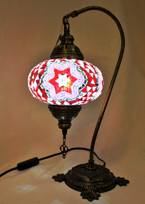 Mosaic Swan Table Lamp White-Red  Star