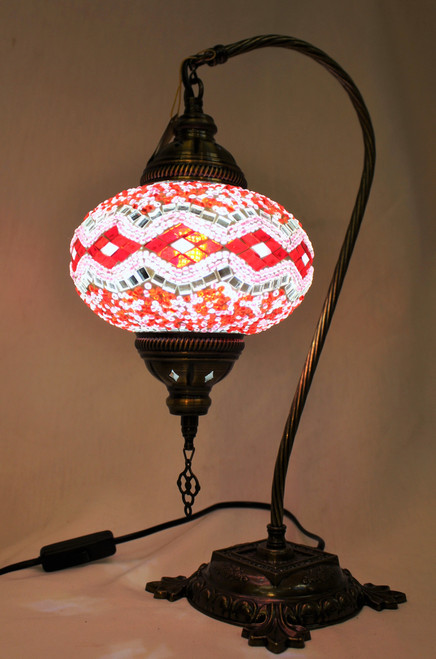 Mosaic Swan Table Lamp White-Red