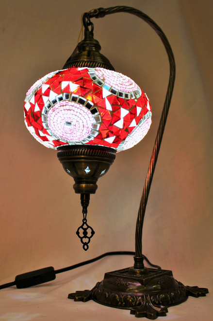 Mosaic Swan Table Lamp White-Red  Spirals