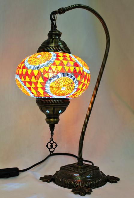 Mosaic Swan Table Lamp Orange-Red Spirals