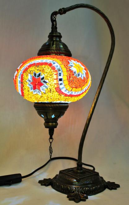 Mosaic Swan Table Lamp Orange-Red Stars
