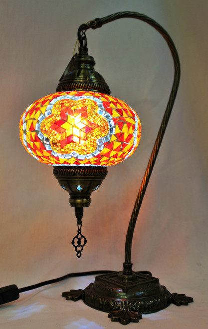 Mosaic Swan Table Lamp Orange-Red Star