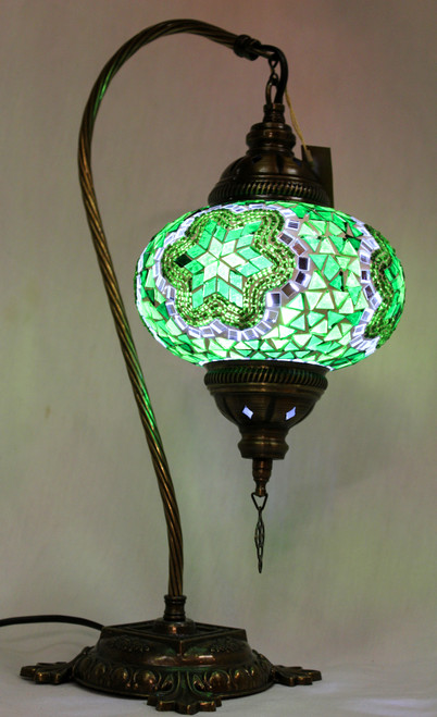 Mosaic Swan Table Lamp Green Star