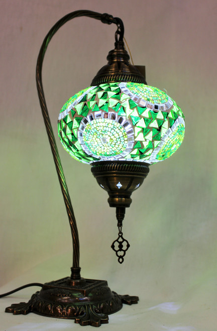 Mosaic Swan Table Lamp Green Spirals