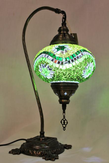 Mosaic Swan Table Lamp Green Stars