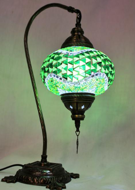 Mosaic Swan Table Lamp Green Wave