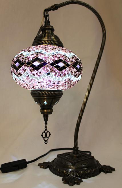 Mosaic Swan Table Lamp Purple