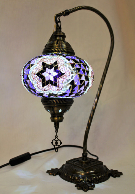 Mosaic Swan Table Lamp Purple Star