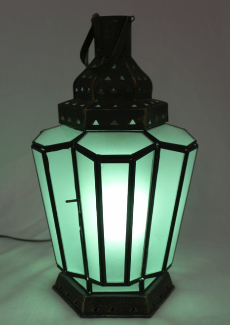Green Frosted Lamp Large