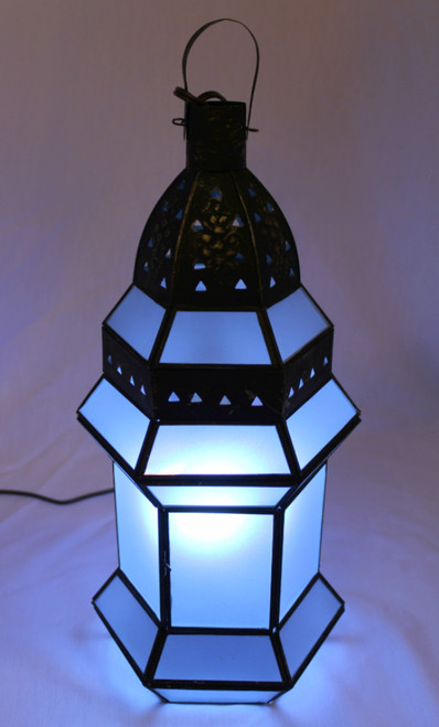 Hexagonal Frosted Lamp Large Blue