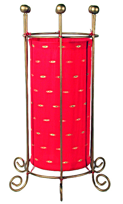 Red Fabric Floor Lamp Round