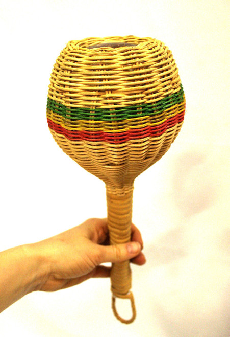 Woven Rattan Shaker. Rasta Colors