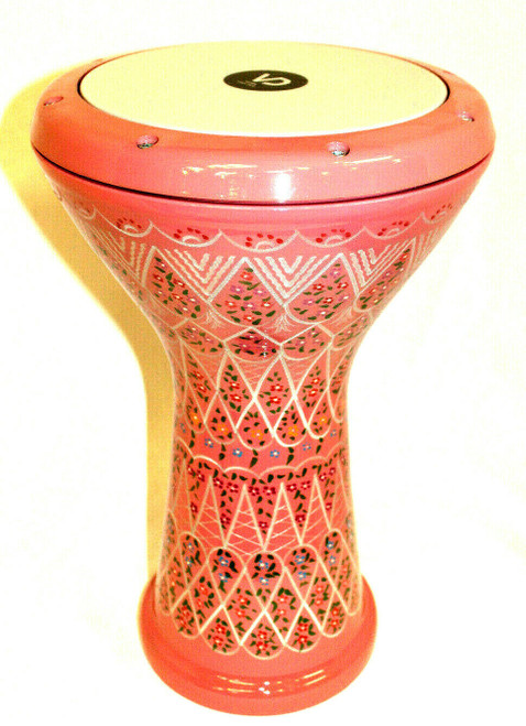 Beautiful Doumbek Etched and Painted Pink