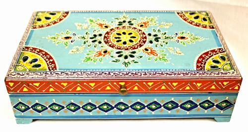 Hand-painted Wooden Box Blue